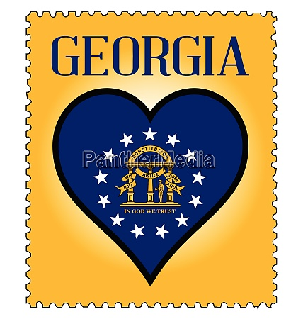 love georgia flag postage stamp