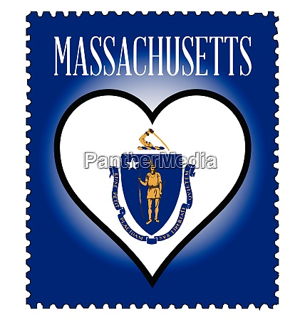 love massachusetts flag postage stamp