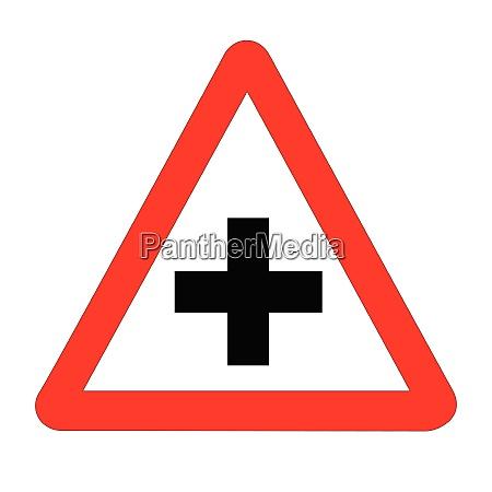 cross roads verkehrszeichen isoliert