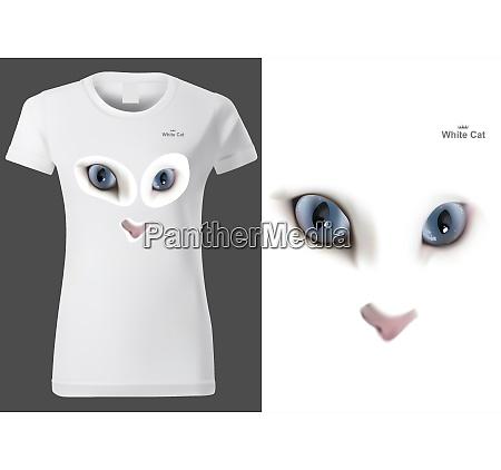 women white t shirt with cat