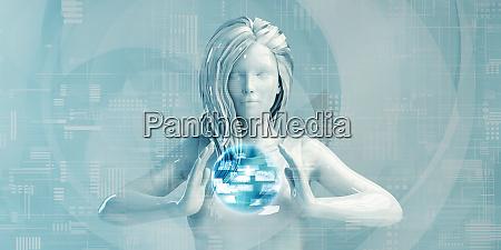 kaukasische geschaeftsfrau mit digitalen loesungen