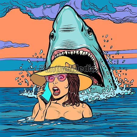 ein hai greift eine frau auf