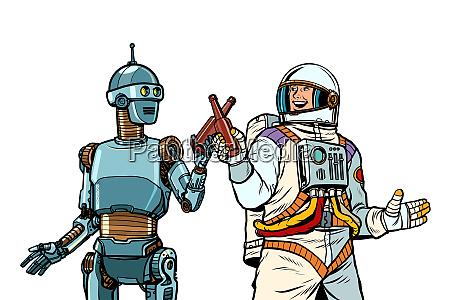 roboter und astronaut trinken gemeinsam bier