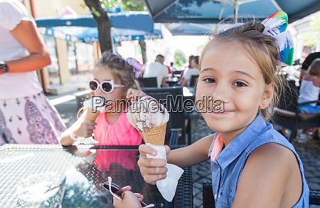 portrait of cute two little girls