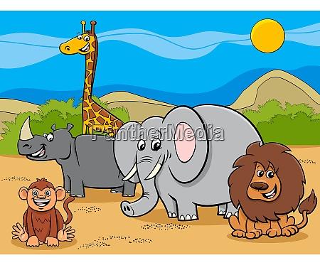safari, tiere, zeichentrickfiguren, gruppe - 27318059