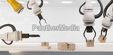 3d rendering roboter boxen und foerderband