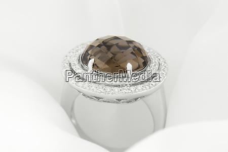 white, gold, ring, with, smokey, topaz - 27324308