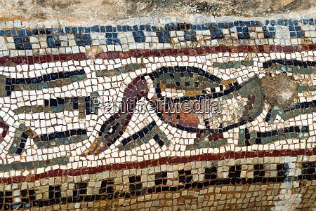 detail of the amphitrite roman mosaic