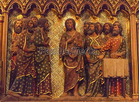 jesus christ twelve disciples wooden panel