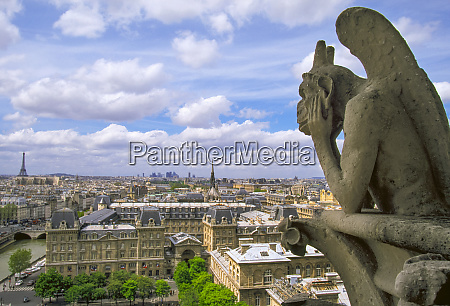 gargoyle on the roof of notre