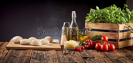 panorama banner mit frischen pizza zutaten