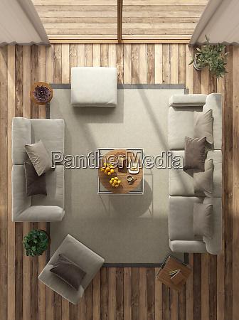 blick, auf, ein, minimalistisches, wohnzimmer - 27332537