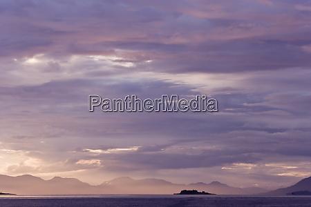 usa alaska ketchikan purple colored sunset