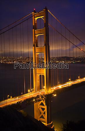 golden gate bridge with lights of