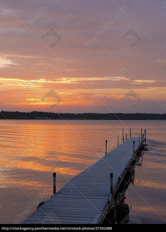 badedock, cass, lake, minnesota, bei, sonnenuntergang - 27342488