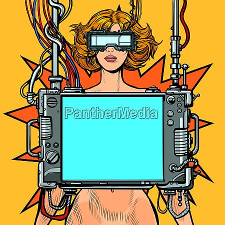 medizinische forschung cyberpunk nackte frau virtual