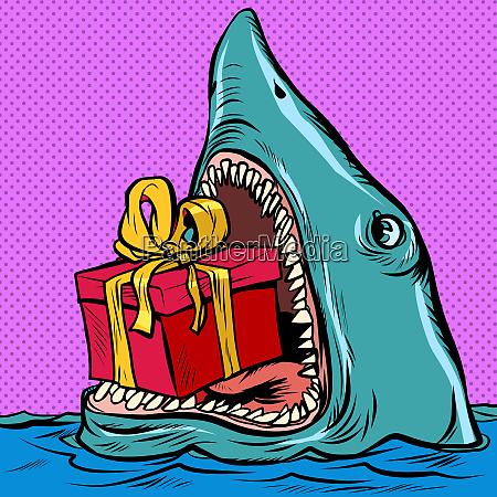hai mit einer geschenkbox urlaub shopping