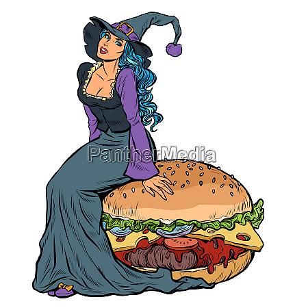 halloween-hexe, sitzt, auf, einem, burger., festliche - 27349366