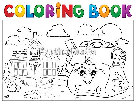coloring book happy schoolbag topic 3