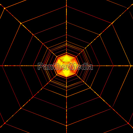 orange glowing abstract spider net isolated