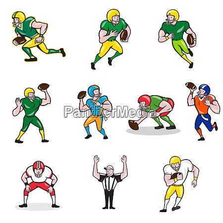 american football player cartoon collection set