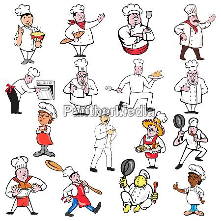 chef baker cook cartoon set