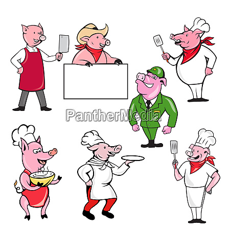 pig worker mascot cartoon set