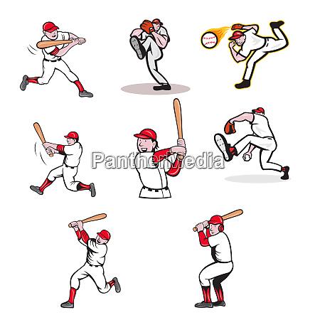 baseball sport mascot cartoon set