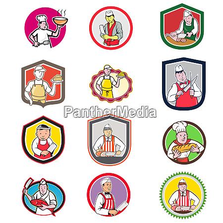 food worker icon cartoon set