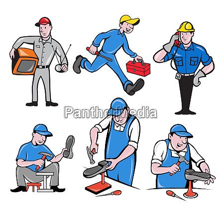 repairman mascot cartoon set