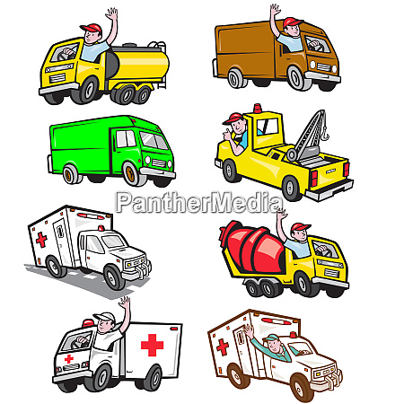 truck driver cartoon set