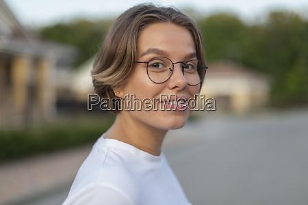 portrait confident smiling young woman