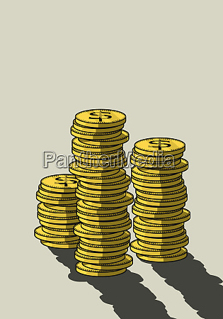 stacks of us currency coins