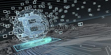 bitcoin blockchain technologie 3d illustration