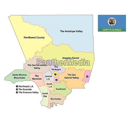 los angeles county regions karte mit