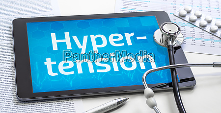 the word hypertension on the display
