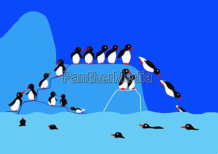 kinderzeichnung von pinguinen auf eisberg springt