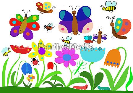 kinderzeichnung von insekten auf blumenwiese