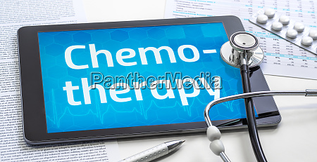 the word chemotherapy on the display