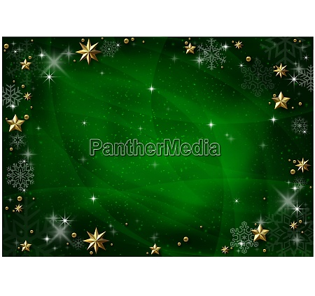 green christmas background with golden stars