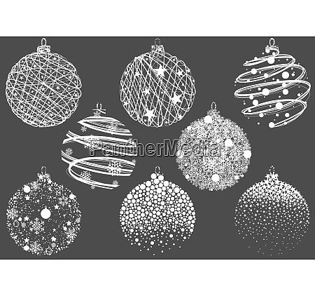set of abstract christmas balls