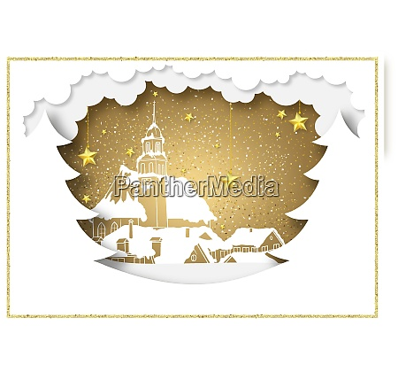 paper style christmas background with golden