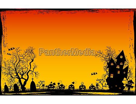 grunge rahmen halloween hintergrund nacht szene