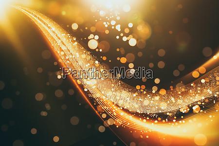 abstrakte glitzernde goldfluss auf linie folgen