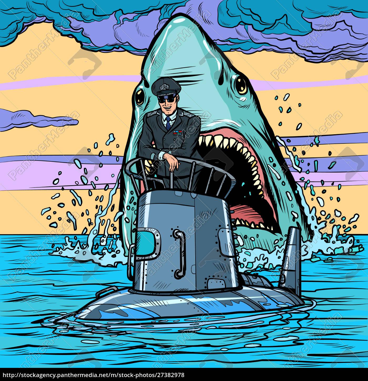 captain, of, the, submarine., shark, attack - 27382978