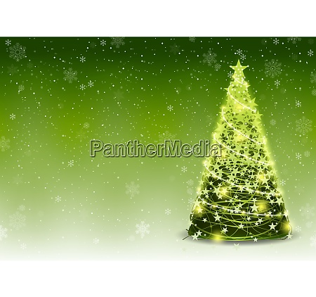 green christmas tree background with falling