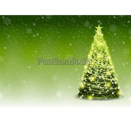 gruener weihnachtsbaum hintergrund mit fallenden schneeflocken