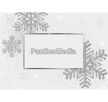 silver xmas background with silver frame
