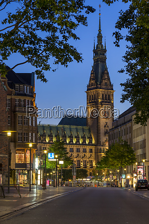 illuminated town hall seen from moenckebergstrasse