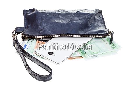 geldboerse tasche mit telefon karten und